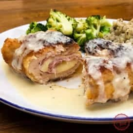 Le Chicken Cordon Bleu with Parmesan Dijon Sauce & Video